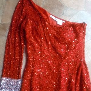 Red Shail K. Sequin Beaded One Shoulder